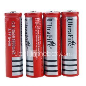 ultrofire 3.7v rechargeable li-ion 18650 ''6800mAh'' batterie (4pcs)