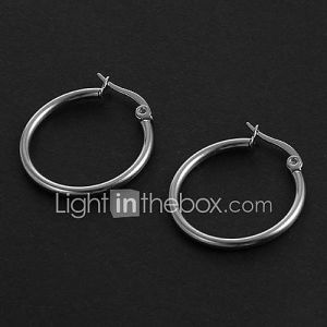 Mode simple 2.0cm Forme Ronde Boucles d'oreilles en acier inoxydable d'argent (1 paire)