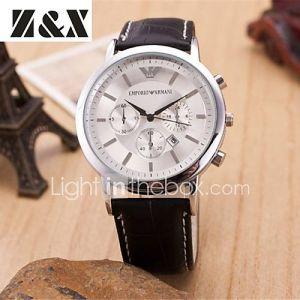 diamant de mode trois yeux la montre bracelet en cuir de quartz analogique des hommes (couleurs assorties)