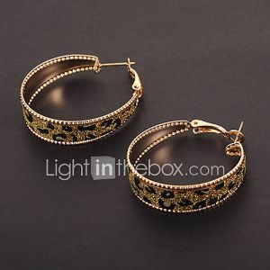 cercle de la mode forme d'impression de léopard d'or de cercle de boucles d'oreilles (1 paire)