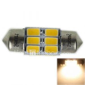 31mm (sv8.5-8) 3w 6x5730smd 180-220lm 3000-3500K lumière blanche chaude Ampoule LED pour la lampe voiture de lecture (ac12-16v)