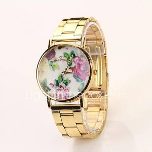 Women's Roman Scale Floral Dial Gold Band Quartz Analog Elegant Fashion Watch CD43