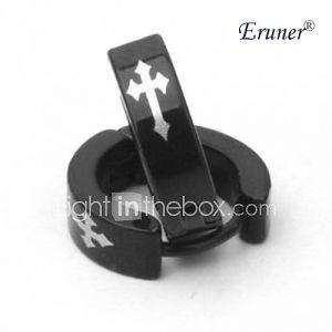 acier de titane croix argentée motif boucle d'oreille de erunermen