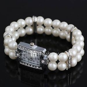alliage incrusté strass bracelet de perles imité forme rectangulaire des femmes watch (1pc)