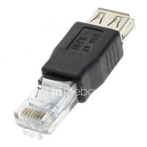 USB 2.0 femelle vers RJ45 Adaptateur mâle noir pour Ethernet
