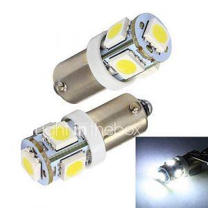 Merdia BA9S 1W 5 x SMD 5050 LED de voiture blanche Voyant / Instrument / Liquidation lampe (2 pièces)