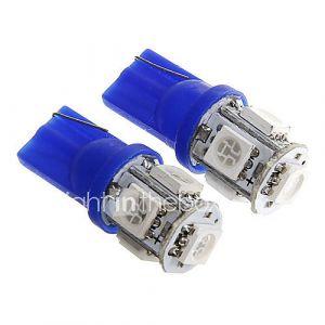 t10 1s 100lm 5 × 5050 SMD LED lumière bleue pour les lampes voiture tableau de bord / porte / coffre (DC12V 2pcs)