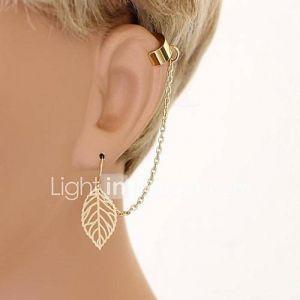 shixin glands feuilles de mode chute de alliage oreille à manchette (or, argent) (1 pc)