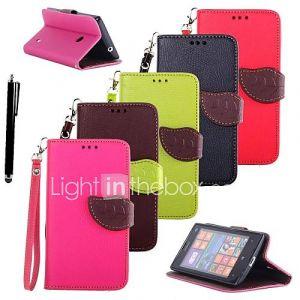 karzea ? feuilles couleurs mélangées TPU cuir pleine corps avec stand et stylet pour Nokia Lumia 520 (couleurs assorties)