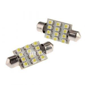 39mm 1W SMD 12x3528 Blanc Guirlande LED Ampoule pour Dôme Voiture / Feu de plaque d'Carte / Licence (12V, 2-Pack)