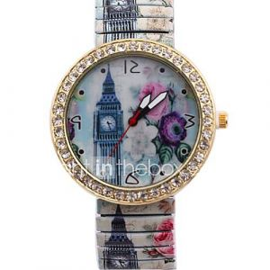 Women's  Elegant Simple Big Ben pattern Metal Spring Band Wrist Watch