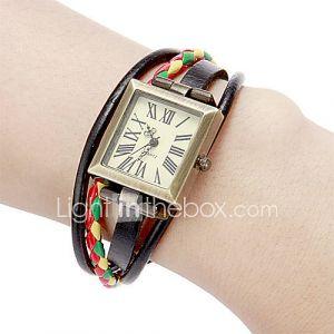 La place des femmes Dial Pu Band bracelet de quartz analogique (couleurs assorties)