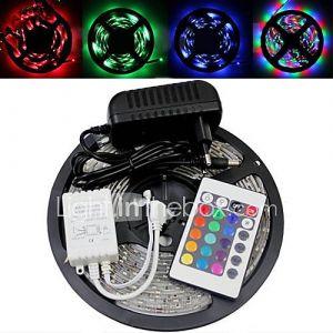 Bande Lumineuse LED avec Télécommande et Adaptateur AC/DC (5m - 150 x 5050 SMD - Eclairage RVB - 110 à 240V - DC 12V 3A)