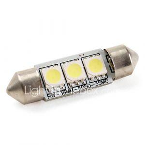 36mm 1W SMD 3x5050 60lm ampoule led blanc pour lampes de voiture (12V DC)