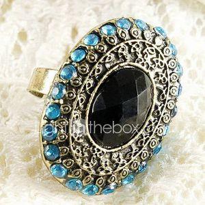 Américaine Fashion Bleu marine Mint Green Oval Diamond Ring Finger européenne et