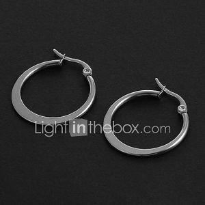 Mode simple 2.0cm Forme plat acier inoxydable d'argent Boucles d'oreilles (1 paire)