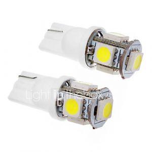 2 Pcs T10 1.5W 5x5050SMD 100-120LM 6000K Cool White Light Bulb LED (12V)