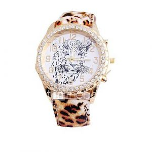 Women's Leopard Belt Style PU Leather Band Quartz Wrist Watch (Assorted color)