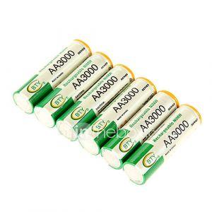 bie 3000mah Ni-MH AA 6pcs batterie rechargeable