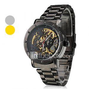 cadran creux acier noir bande analogique montre-bracelet automatique mécanique des hommes (couleurs assorties)