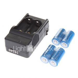 US Plug UltraFire 16340 Chargeur de batterie w / 4 x 3.6V 1000mAh '''' 16340 Batteries - Noir