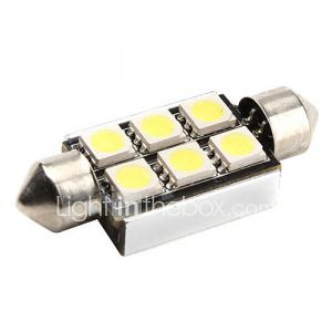 canbus feston 39mm 1W 6x5050 SMD LED blanche signal lumineux voiture