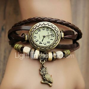 bracelet montre bohème de bande de cuir pendentif chouette des femmes (couleur aléatoire)