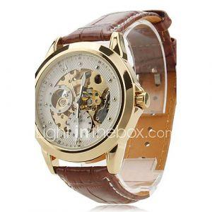 squelette automatique mécanique PU bande de montre-bracelet des hommes (couleurs assorties)