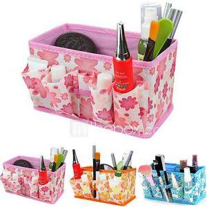 pliage motif de fleurs cosmétiques quadrate support de stockage boîte de pinceau de maquillage pot organisateur cosmétique (3 couleurs au choix)
