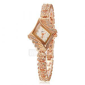 Diamante des femmes Cadran alliage Band bracelet à quartz analogique (couleurs assorties)