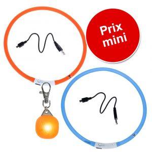 Lot : colliers lumineux + pendentif lumineux pour chien - lot 1 : collier lumineux orange, collier lumineux bleu, pendentif lumineux orange
