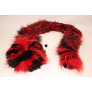 Echarpe boa rouge et noire en fourrure de Renard 97b13071e96