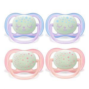 Philips Avent Sucette ultra air SCF376/12 Night 0-6 m rose lot de 4