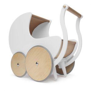 Kinderfeets® Poussette pour poupée, bois blanc