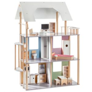 howa ® Maison pour poupée de 30 cm, bois multicolore