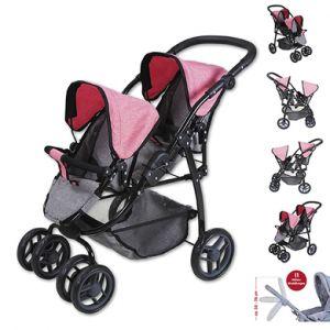 knorr® toys Poussette double pour poupée Milo - jeans grey