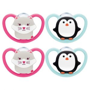 NUK Sucette Space taille 3 silicone chat/pingouin 4 pièces