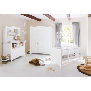 Pinolino  Ensemble lit bébé commode à langer armoire 2 portes Florentina plan d'étagère blanc