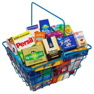 Tanner - Panier de courses enfant garni Le petit marchand métal bleu