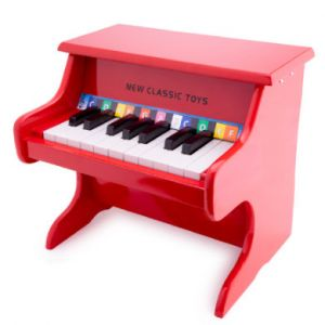 New Classic Toys Piano enfant 18 touches rouge bois