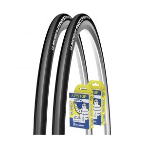 Michelin Pro 3 Black Grey 23c Tyres + Tubes