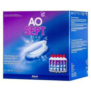 Aosept Plus Pack 5x360ml,5 flacons de 360ml + 5 étuis munis d'Aodisc