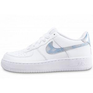 Nike Air Force 1  Blanche Et Bleu Ciel Baskets Enfant