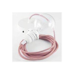 Suspension / Set câble tissu, rosace, douille E27 - Koziol rouge en métal
