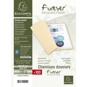 Lot de 5 paquets de 100 chemises Forever® 170 100% recyclé - 24 x 32 cm - EXACOMPTA - Jaune - 420005E