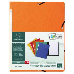 Lot de 50 chemises à élastiques sans rabat carte lustrée 355gm² - A4 - EXACOMPTA - Orange - 55414E