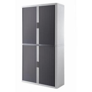 Armoire à rideaux EASY OFFICE 2m - Corps blanc, rideaux anthracites