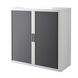 Armoire basse à rideaux EASY OFFICE 1m - Corps blanc, rideaux anthracites, poignées anthracites
