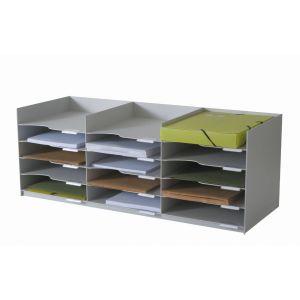 Bloc à cases - Compatible avec l'armoire EASYOFFICE - 15 cases 24x32 - Gris