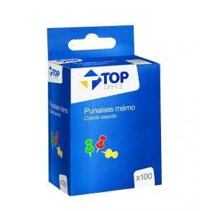 100 punaises mémo - TOP OFFICE - Assortiment de couleurs